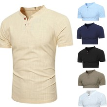 Men s Spring Casual Tops Summer Solid Short Stand Collar Sleeve T Shirt Button Linen Solid