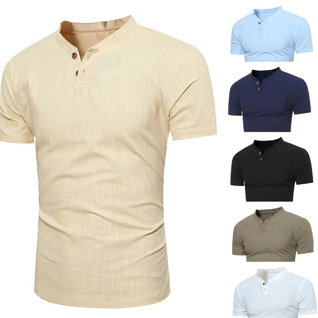 Men's Spring Casual Tops Summer Solid Short Stand Collar -Sleeve T-Shirt Button Linen Solid Blouse Tee New Fashion