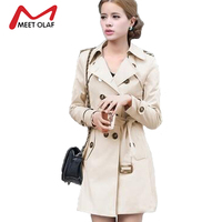 Women Trench 2015 New Autunm Winter Coat Slim Fashion Plus Size Medium Long Windbreaker Patchwork OL