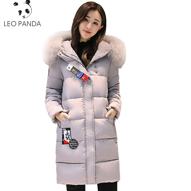 2019 Women Winter Parkas Casual Female Warm Thicken Long Big Fur Collar Hooded Jacket Cotton Padded Coat Outerwear Female LCY614
