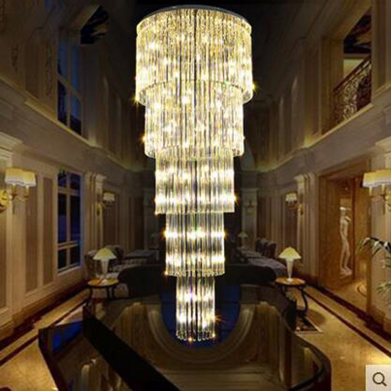 Villa LED crystal chandelier pendant lamp double staircase long luxurious living room chandelier lighting fixture led lamps stairs lights chinese villa k9 crystal led long pendant lights rotary double staircase living room lighting pendant lamps za