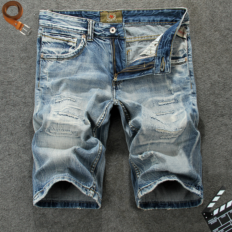 Italian Style Fashion Men 39 s Jeans Shorts Blue Color Short Ripped Jeans High Quality Vintage Hip Hop Classical Denim Shorts Men in Jeans from Men 39 s Clothing