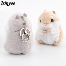 ISINYEE 2017 Cute Hamster Pom Pom KeyChains Women Fluffy Bunny Toy Doll Bag Car Key Ring Pompom Keychain Trinket Jewelry