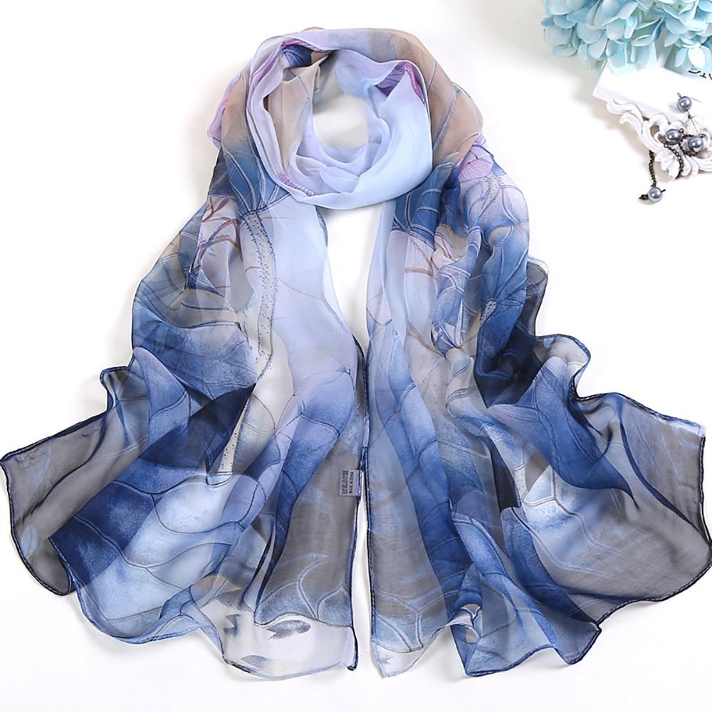 2019 Hot Sale Chiffon   Scarf   Women Long Soft Beach Silk hijab   scarf   Ladies Chiffon Floral   Scarf     Wrap   Long Shawl foulard #H20