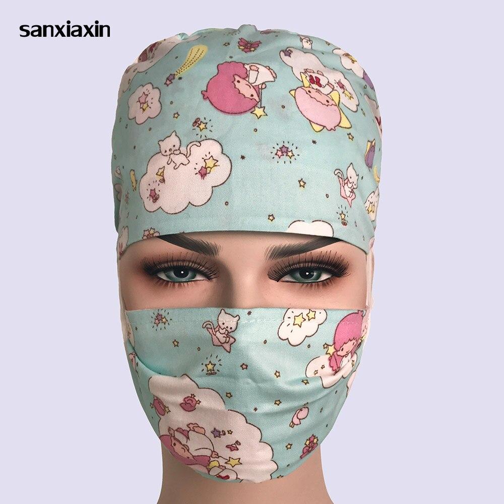 Sanxianxin Unisex Cotton Breathable Print Adjustable Pet Hospital Work Hats Surgical Cap Doctor Nurse Cap Beauty Pharmacy Hat