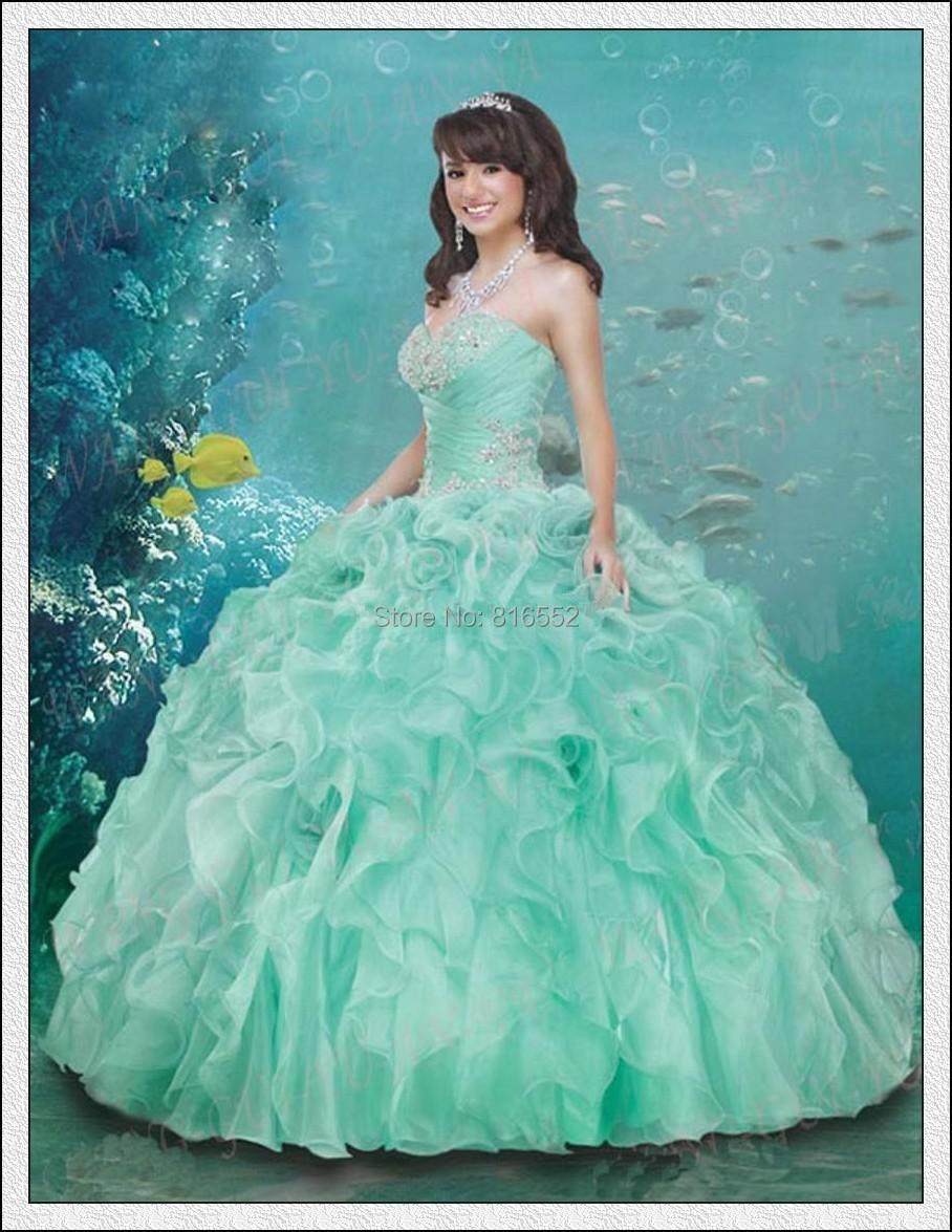 cead3f1c0 2015 elegante verde quinceañera vestidos Vestido de novia encaje Vestido de  Organza para 15 años Vestido De15 Anos Curto w52