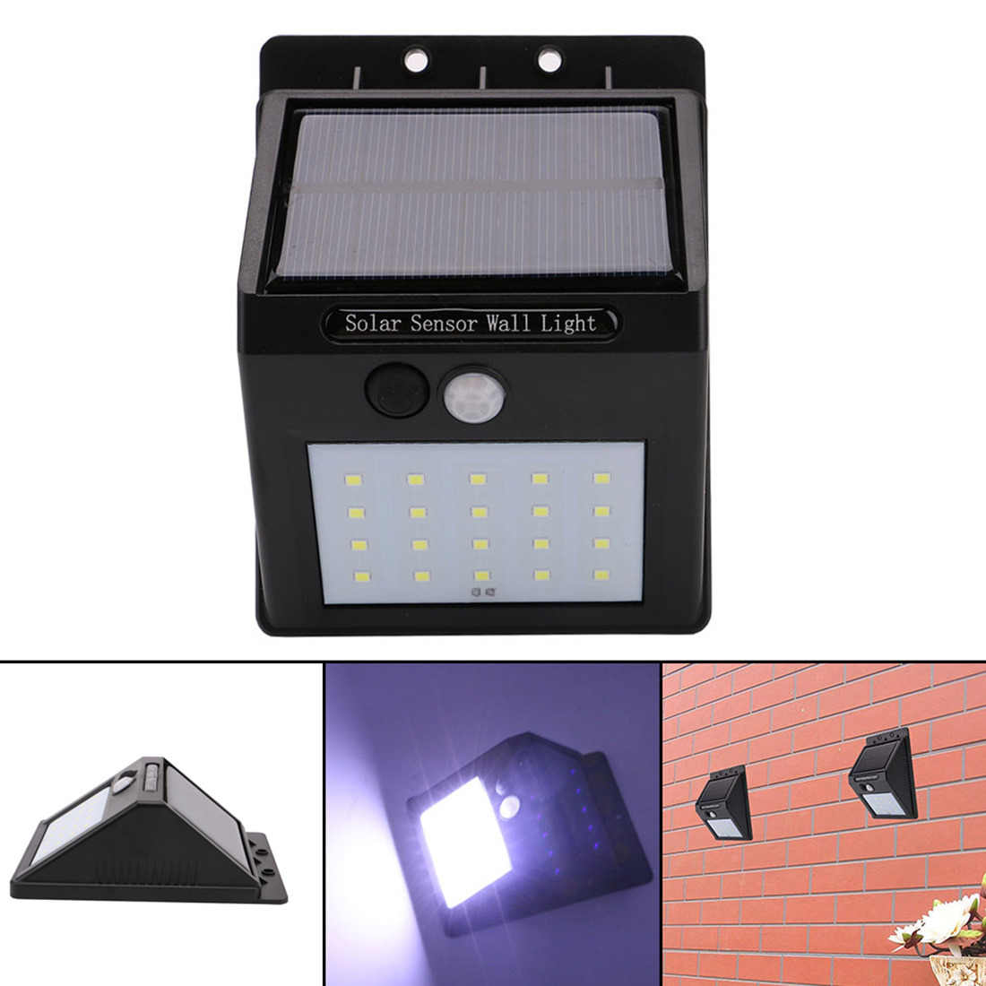 1pcs LED Outdoor Wireless Solar Powered PIR Motion Sensor Light Wall Light Led Lamp