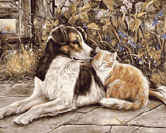 2319 Mahuaf J063 Pintura Por Números Gato Y Perro Pintado A Mano Lienzo Pintura Al óleo Animal Dibujo Por Números Para Decoración Del Hogar