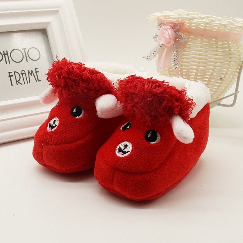 1 Pair Cartoon Winter Baby Shoes Alpaca Soft Bottom Non-slip Warm Boots Toddler Newborn Boys Girls First Walkers 6-12 Months 1