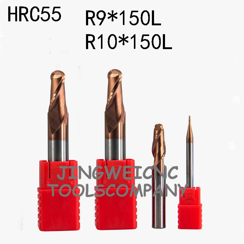 HRC55 Tungsten carbide ball end mill extra long lenth R10*150mm R9*150mm extended long lengthHRC55 Tungsten carbide ball end mill extra long lenth R10*150mm R9*150mm extended long length