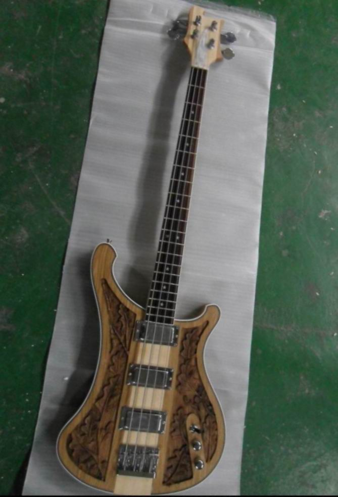 Wholesale Cnbald Rick...r 4004 4 string electric bass guitar 4003 carved flower body through neck in natural 130901 kaish 6x guitar string through body ferrule 1 4 string ferrules for telecaster various colors