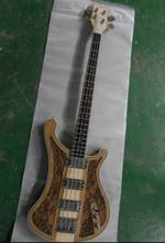 Wholesale Cnbald Rick…r 4004 4 string electric bass guitar 4003 carved flower body through neck in natural 130901