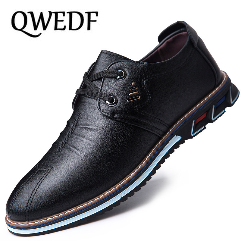 QWEDF Men Genuine Leather Shoes High Quality Elastic Band Fashion Design Solid Tenacity Comfortable Men's Shoes Adulto X3-42