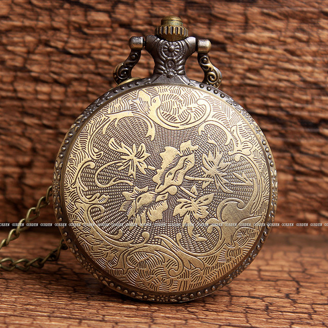Bronze Kohoha Leaf Village Logo Quartz Pocket Watch With Chain