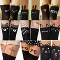 W777 New cute Women Pantyhose Stocking Kawaii kitty Bow Heart Stitching Knee Boots Nylon Tights Free Shipping different styles