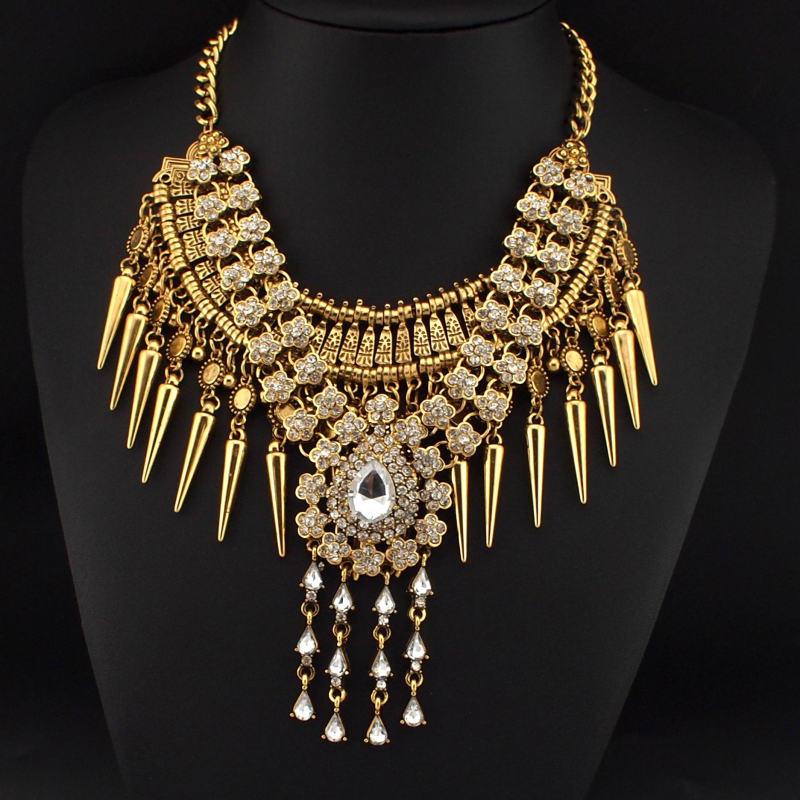 305a320139c9 ... de Accesorios de Moda de la vendimia Mujeres Joyería Del Encanto de la  Cadena Del Rhinestone Del Diseño Cúspide N3383 Colgante Gargantillas  Collares