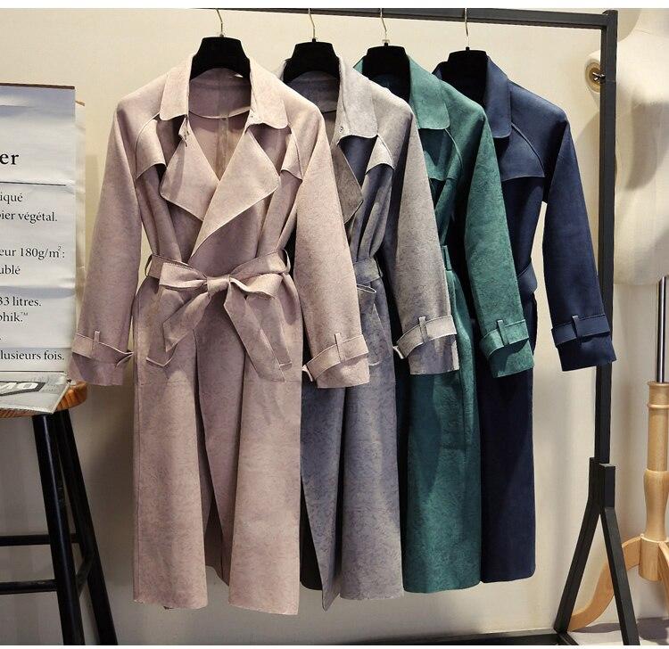 Daim Manteaux dark Vers Tranchée Blue Tournent Casual Long Solides Manteau À Printemps Automne Pour Femmes Slim Gray pink Green Le 2018 Suede Bas navy TgzXHq