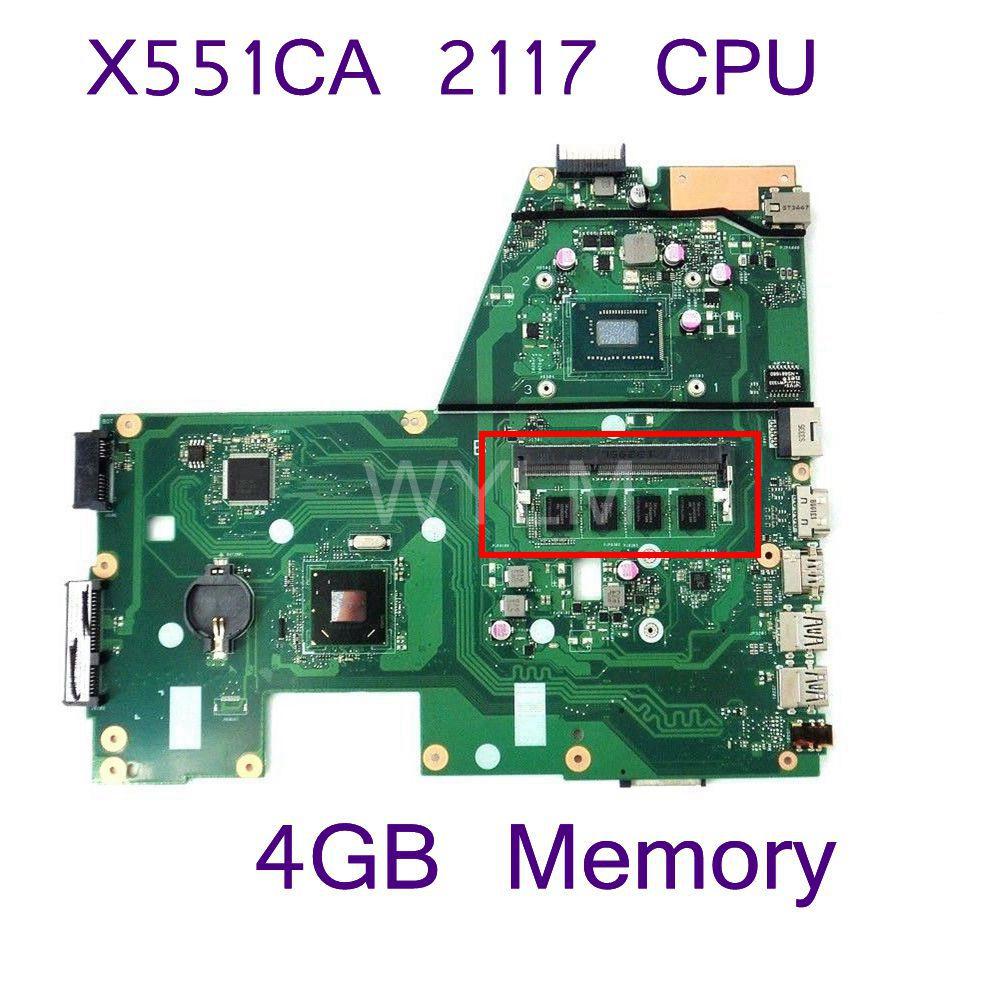 X551CA SR0VQ 2117 CPU 4GB Memory Slots DDR3 Mainboard REV 2.2 For ASUS X551C X551CAP X551CA Laptop motherboard 100% tested kefu x551ca motherboard for asus x551ca laptop motherboard x551ca mainboard rev2 2 1007u 100% tested freeshipping