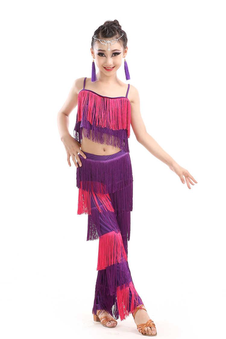 ריקוד לטיני שמלות למכירה סלוניים בתוספת גודל פרינג 'טאסל שמלת מכנסיים נצנצים פרינג' סלסה סמבה תלבושות ילדים ילדי בנות