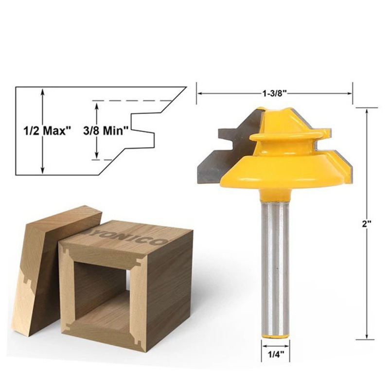 45 Degree Lock Miter Router Bit Woodwork Tenon Cutter Tool W/1/4Inch W/1/2Inch Woodworking Shank Milling Cutter 1567 high grade carbide alloy 1 2 shank 2 1 4 dia bottom cleaning router bit woodworking milling cutter for mdf wood 55mm mayitr