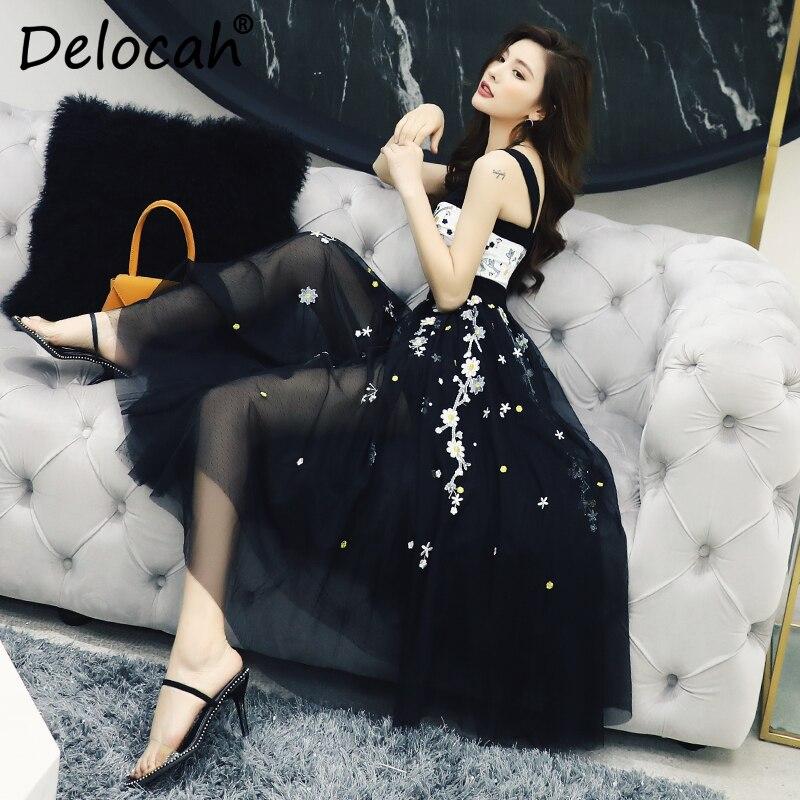 Mode Piste D'été Femmes Printemps Broderie Courroie Multi Delocah Élégant Magnifique Créateur Plage De Sexy Dame Robe Gaine Maille wHIU0dxtdq