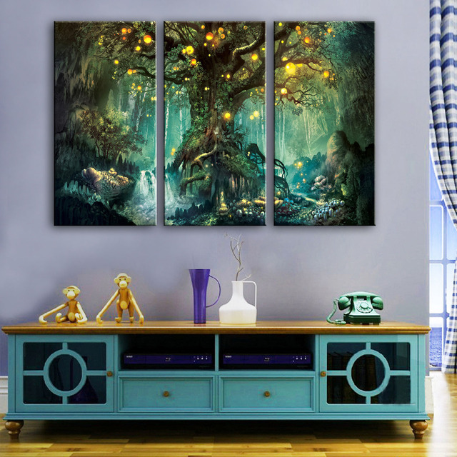 Free Shipping Stretched Canvas Prints Shining Fantasy Tree LED Flashing  Optical Fiber Print LED Wall Art