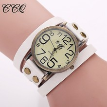 CCQ Brand Hot Antique Leather Bracelet Watch Vintage Women Wrist Watch Fashion Unisex Quartz Watch Relogio Feminino BW1373