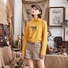 ARTKA 2018 Women Autumn and Winter New 95% Cotton T-Shirt Sweet Fun Print Skin-friendly High-neck Women's T-shirt ZA10081D