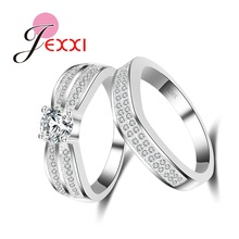 JEXXI High Standard Cubic Zircon Eternity Rings Set for Women Wife Real 925 Sterling Silver CZ Diamond Wedding Accessories Gift
