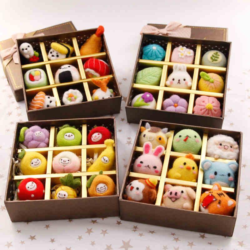 Birthday gift box creative wool felt Fruit sushi cartoon diy handmade student novice material bag statue