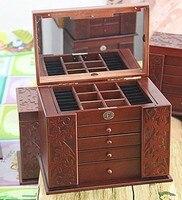 2015Fashion Super Jewelry Box Leather Jewelry Casket For Jewelry Organizer Case Gift Box With Mirror