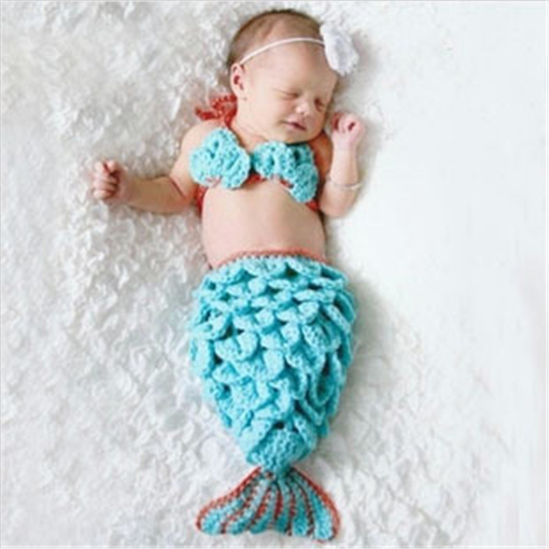 Animal Style Newborn Baby Photography Props Mermaid Tail Photo Props Baby Coming Home Costume Outfit Princess Girl Photo Shoot