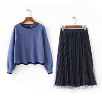 Women Spring Autumn two piece set Pullover Sweater + Mesh Midi Skirt Solid Knitting Top skirt Suit Set 2 Piece Set 4XL 5XL Z114