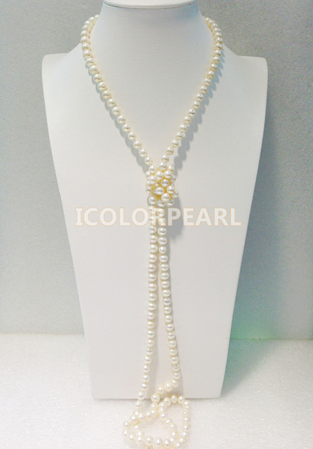 125-130CM Small Shiny 7-8MM Nearround White /Pink Freshwater Pearl Sweater Necklace