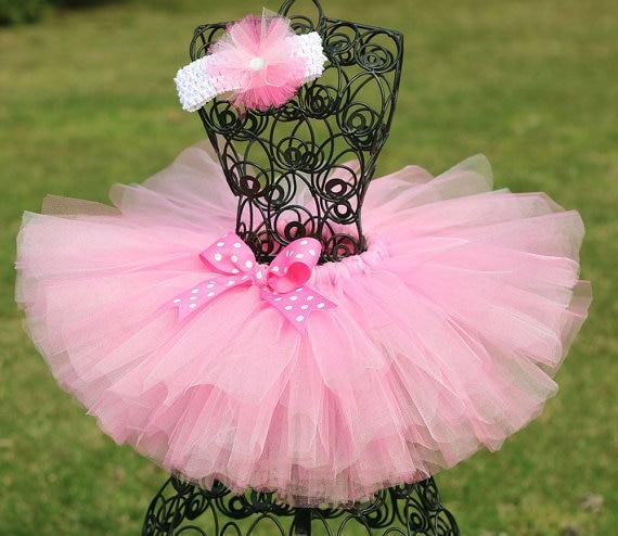 disfruta del precio inferior nuevo alto estilo atractivo Lindas faldas tutú rosa para niñas, tutú de tul hecho a mano para bebés,  con diadema de lunares, Tutus de Ballet para niños, ropa de fiesta