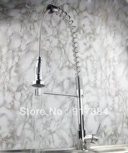 Новый современный поток Горячие/холодной воды хром поворотный носик Pull Out Спрей Кухня одно отверстие кран раковины JN8550