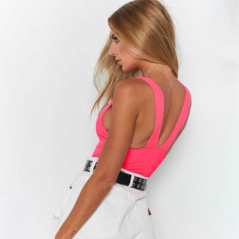 Simenual основной сексуальный модный боди неоновый цвет Повседневный комбинезон женский комбинезон с открытой спиной однотонный летний Боди без рукавов