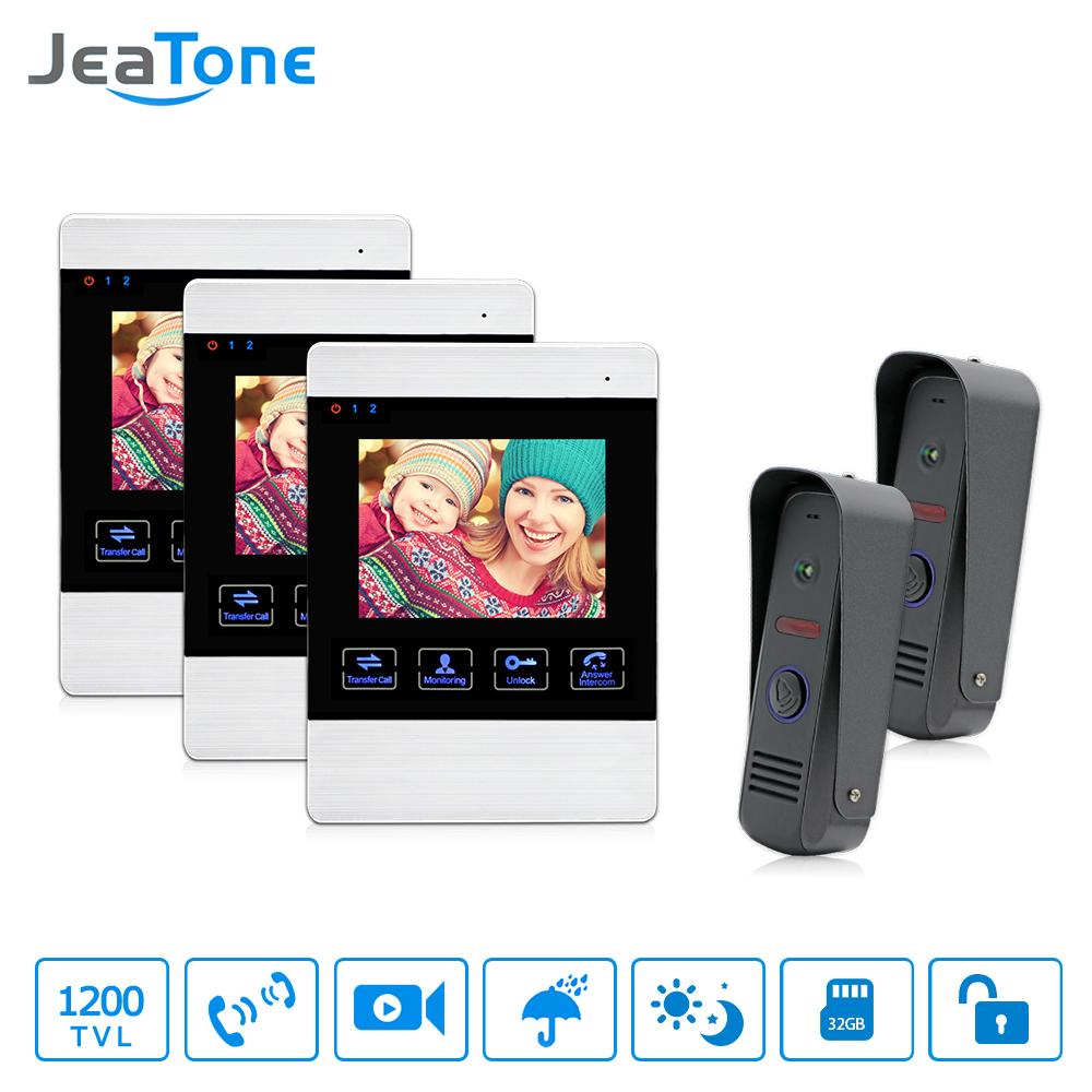 JeaTone 4 Wired Color LCD Video Door Phone Intercom Security Camera Hands Free Visual Intercom Record IR Night Vision Touch Key jeatone 7 inch wired video door phone video intercom hands free intercom system with waterproof outdoor ir night camera