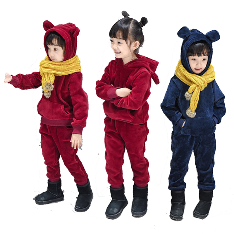 Children's boys girls autumn long sleeve hooded velvet coats and pants two piece sets sets tracksuit for boys girls clothing 45 2015 new autumn winter warm boys girls suit children s sets baby boys hooded clothing set girl kids sets sweatshirts and pant