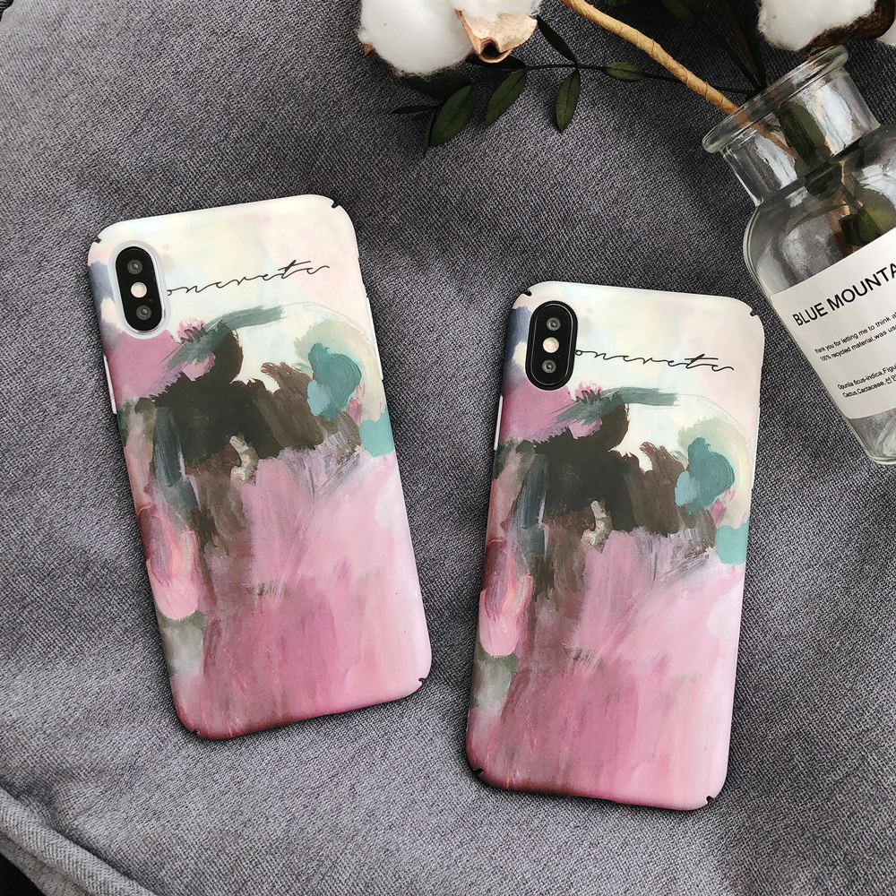 For iPhone X XS Max XR 8 7 6 6s Oil Painting Pink Phone