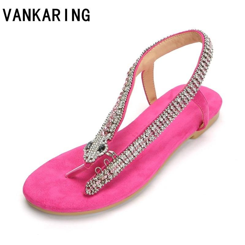 fashion rhinestones snake summer casual dress shoes woman sandals flat sandals Thong flip flops ladies gladiator