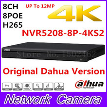 Free shipping New Dahua 8CH 1U 4K&H.265 1080P NVR support 2HDD 8 poe port Onvif NVR5208-8P-4KS2 up to 12MP resolution