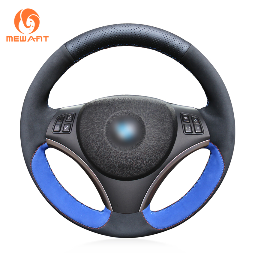 цена на MEWANT Black Genuine Leather Black suede Car Steering Wheel Cover for BMW E90 325i 330i 335i E87 120i 130i 120d