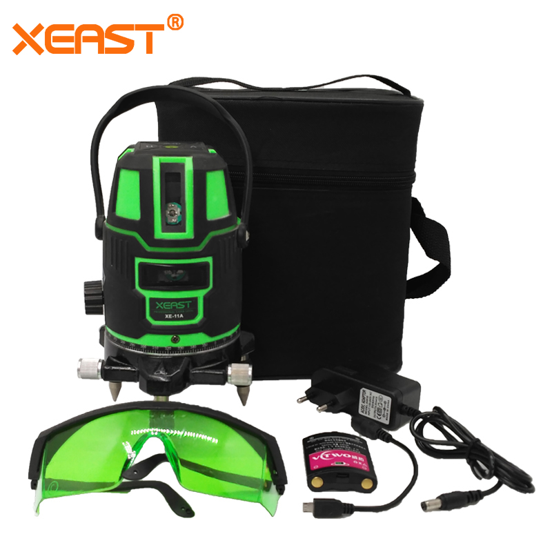 XEAST XE-11A 5 line 6 point Green laser level meter 360 degree laser level with outdoor mode tilt mode Self Leveling xeast xe 17a new 3d red laser level 8 lines tilt mode self leveling meter 360 degree rotary cross red beam