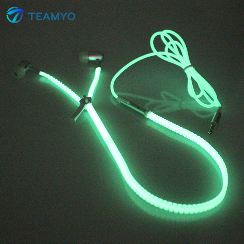 Teamyo In-Ear Luminous Earphone Headset with Mic Earpiece Glow in the Dark Zipper Earphones For iPhone Samsung Xiaomi MP3 Earpod