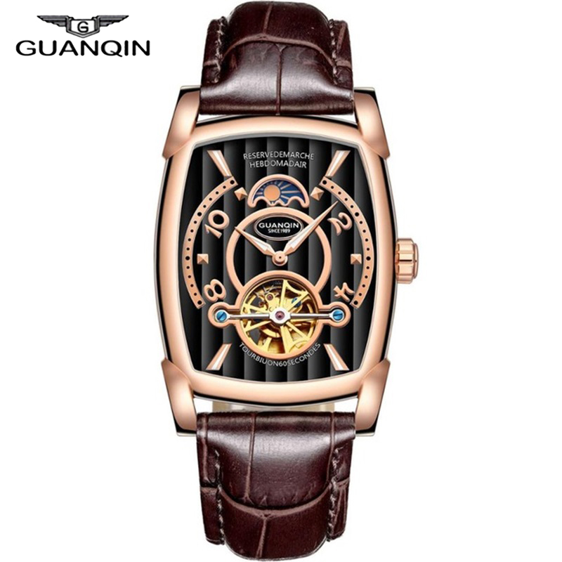 GUANQIN Mechanical Watches Wen 2018 Leather Strap Clock Men Waterproof Wristwatches Tourbillon Automatic Rectangle Wrist Watch пылесос centek centek ct 2514