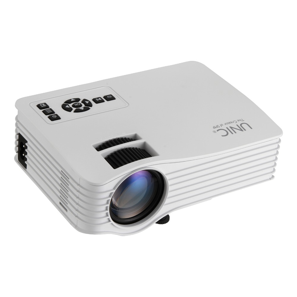 1pcs UNIC UC36 Full HD 1080P AU /EU /UK /US  plug Mini Home Theater Multimedia LED Projector USB - White choose