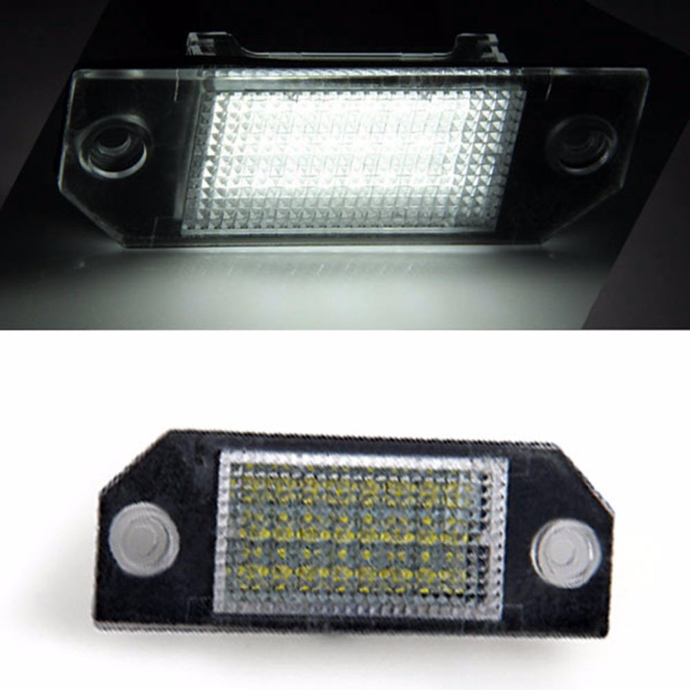 Qook 2piece Car Number License Plate Lamps White 24 LED Lights Bulbs for Ford Focus 2 C-Max vehemo 2pcs 12v white 24 led car number license plate light lamp for ford focus c max mk2