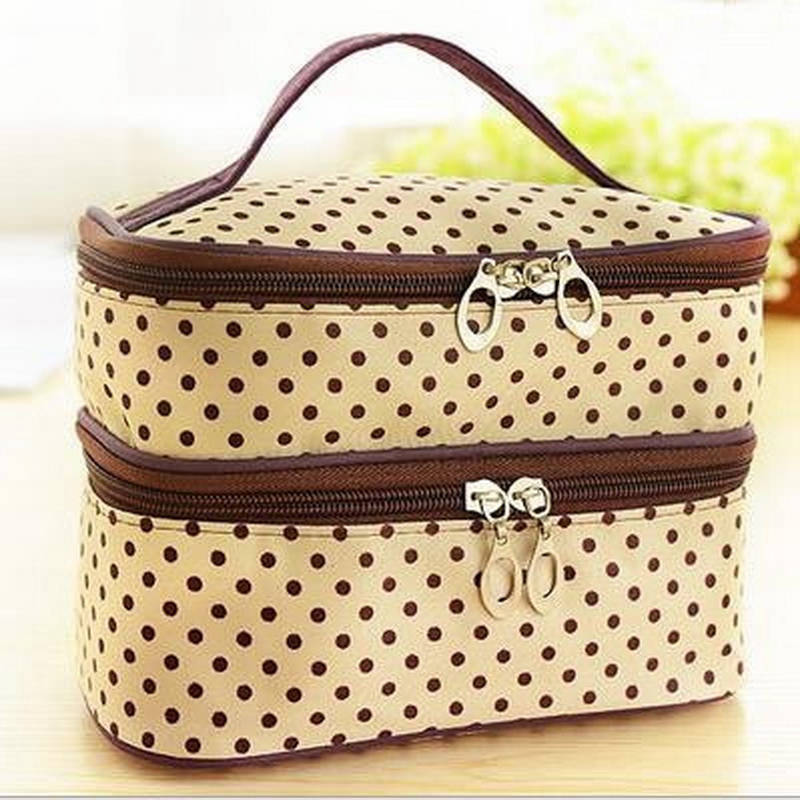 Image 2 - Multifunctional make up cosmetic bag travel organizer Zipper Bags Portable Double layer Dots Makeup Storage Case Toiletry Bags-in Storage Boxes & Bins from Home & Garden