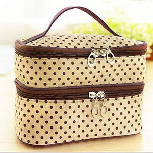 Image 2 - Multifunctional make up cosmetic bag travel organizer Zipper Bags Portable Double layer Dots Makeup Storage Case Toiletry Bags